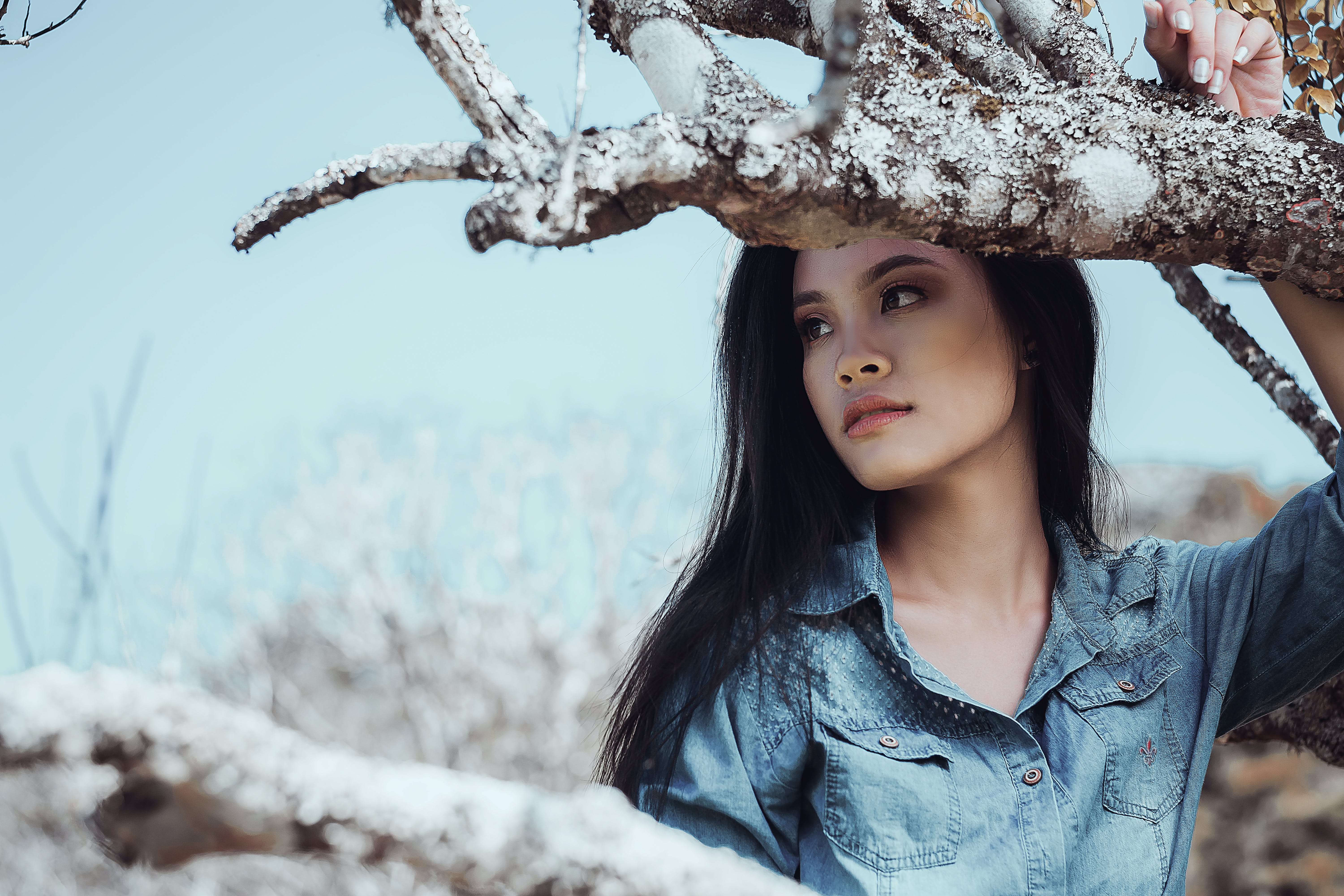 Woman In Blue Top Beside Tree