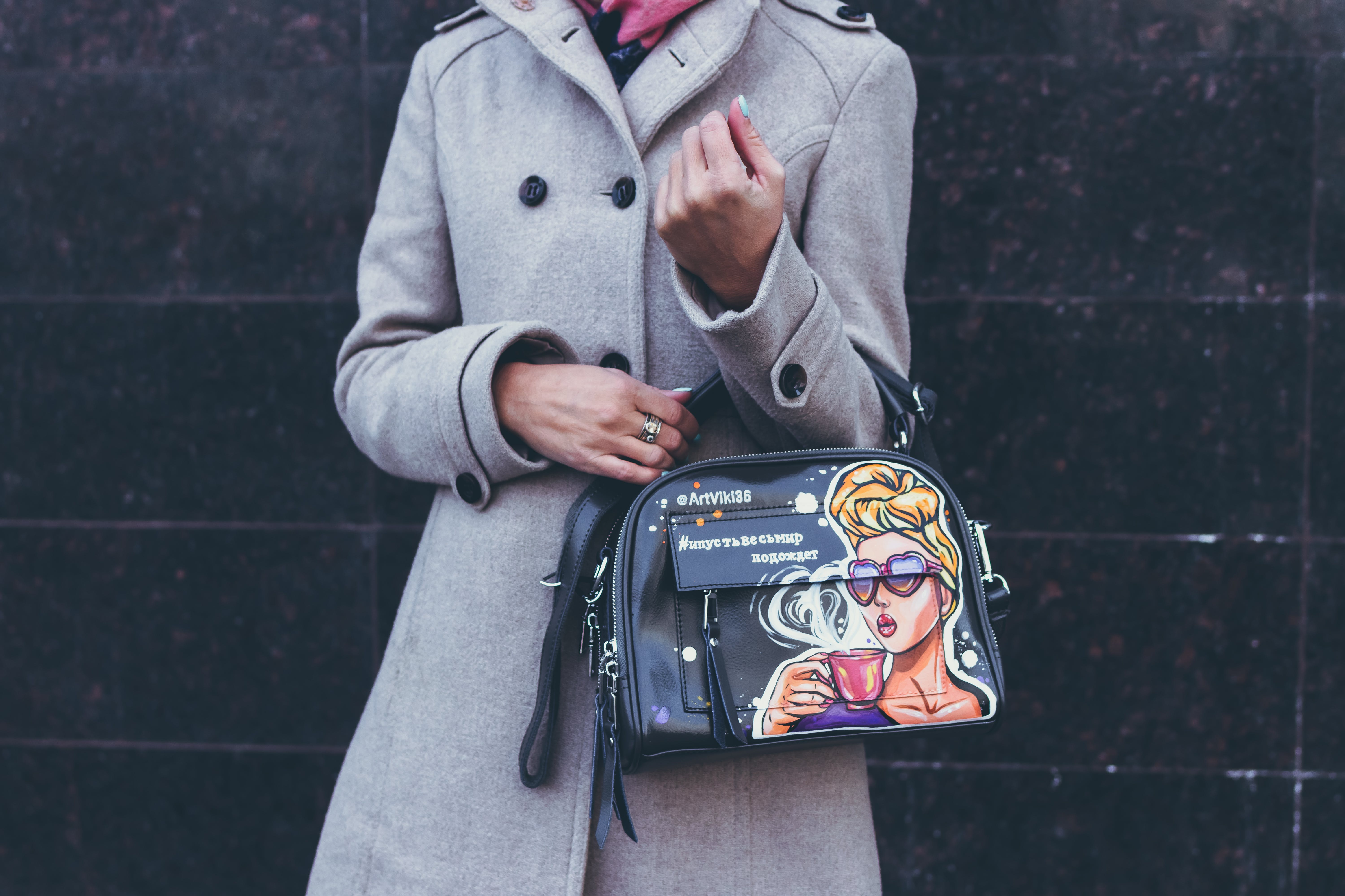 Woman Carrying Handbag With Left Arm