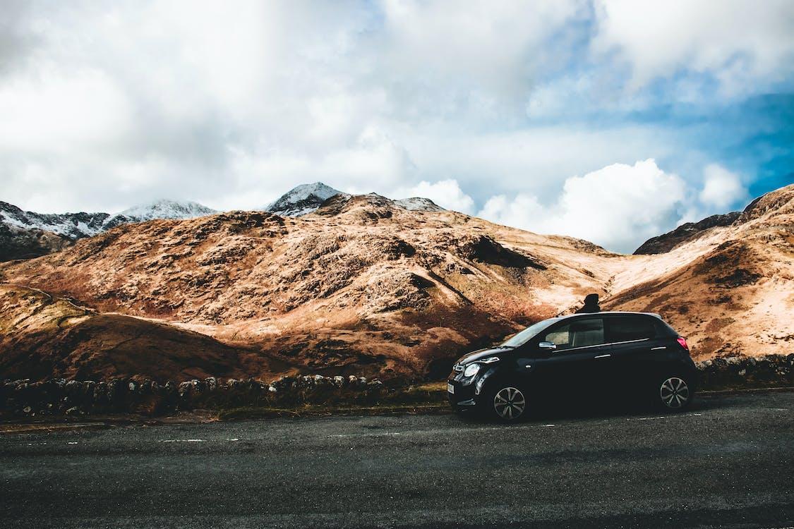 auto, berg, buiten