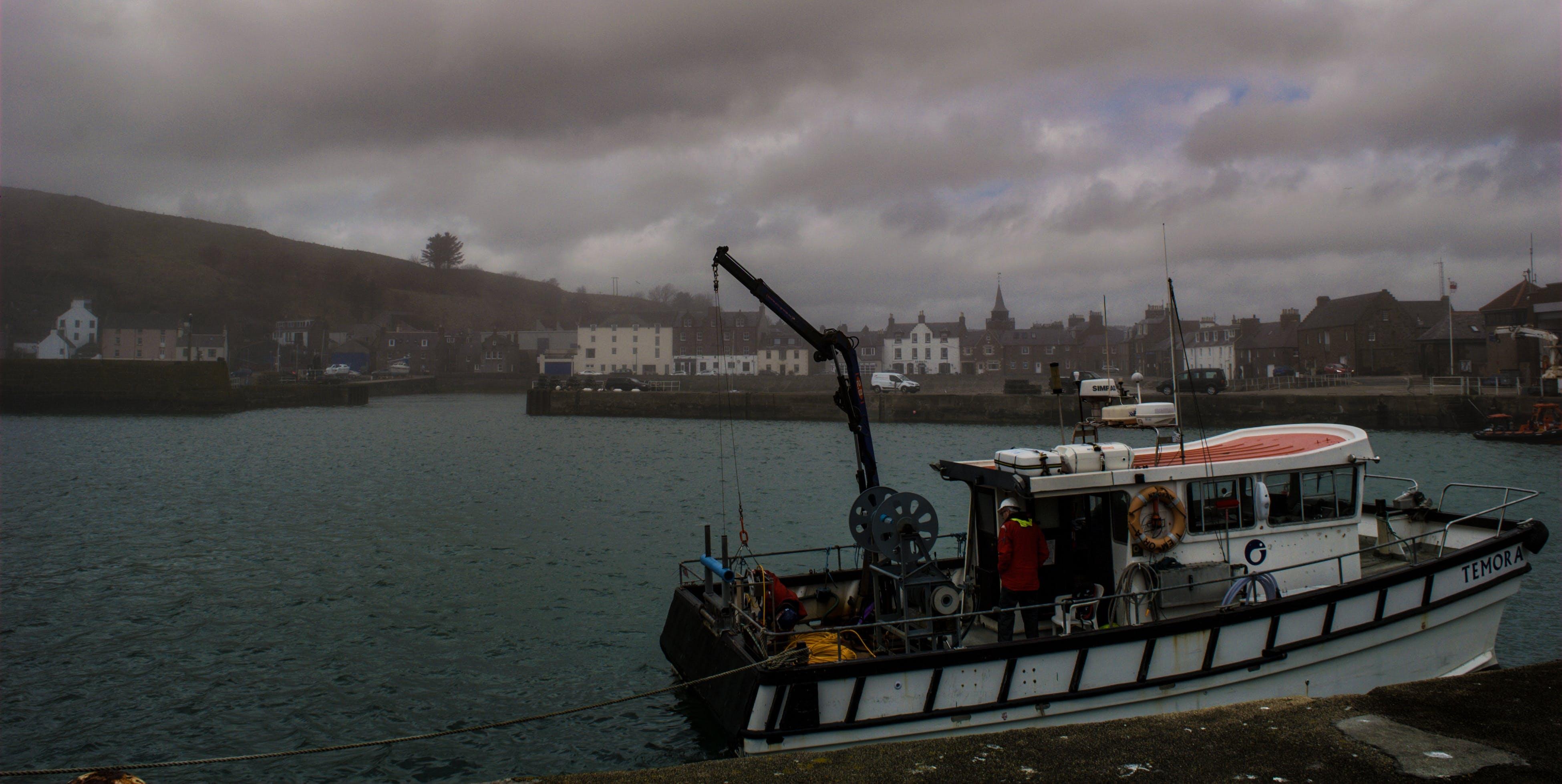多雲的, 有霧, 海港, 漁船 的 免费素材照片