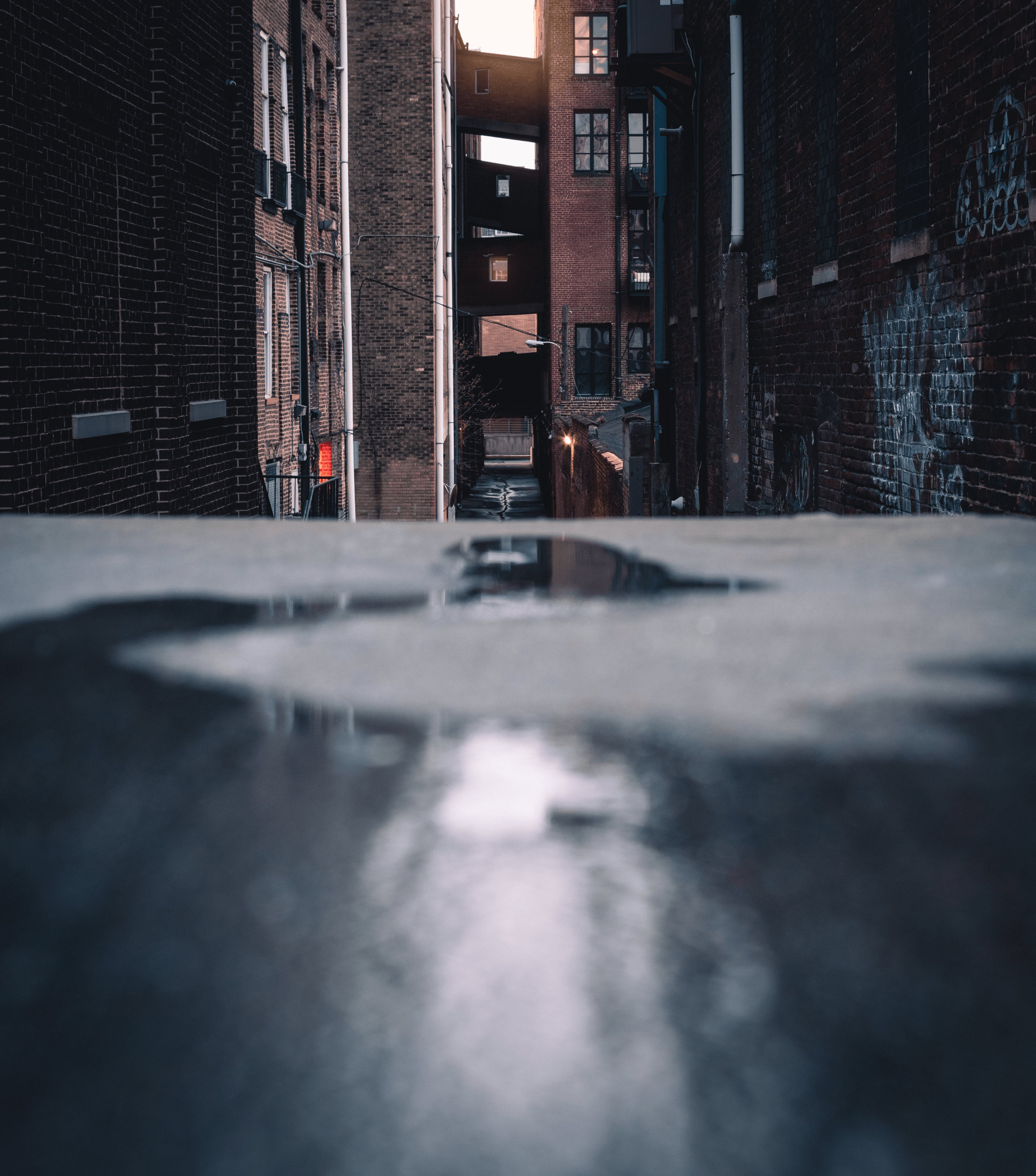 Road With Water on Focus Photography