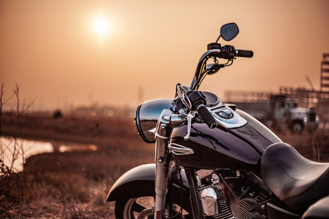 велосипед, Захід сонця, мотоцикл