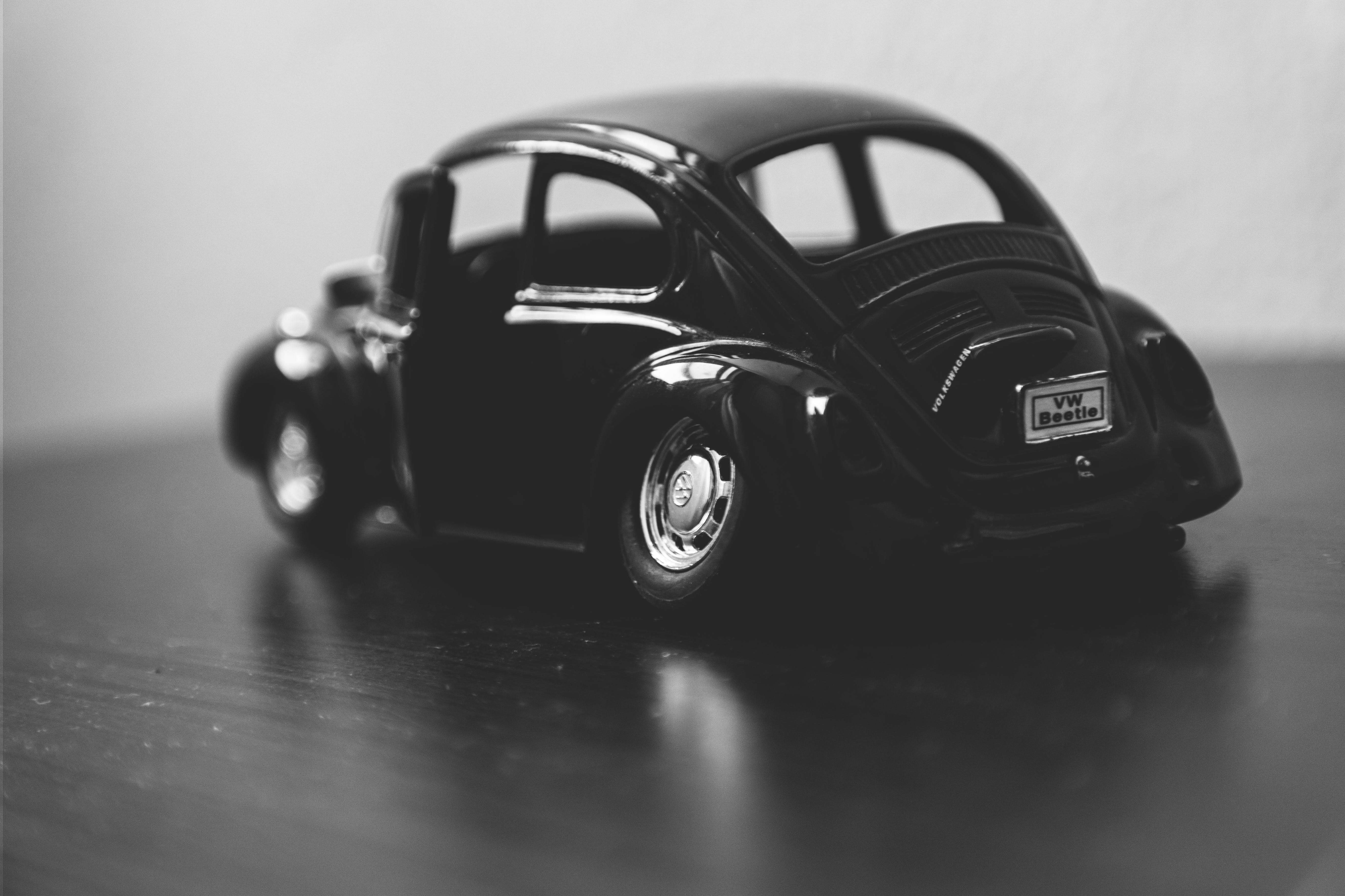 Black Volkswagen Beetle Grayscale Photography