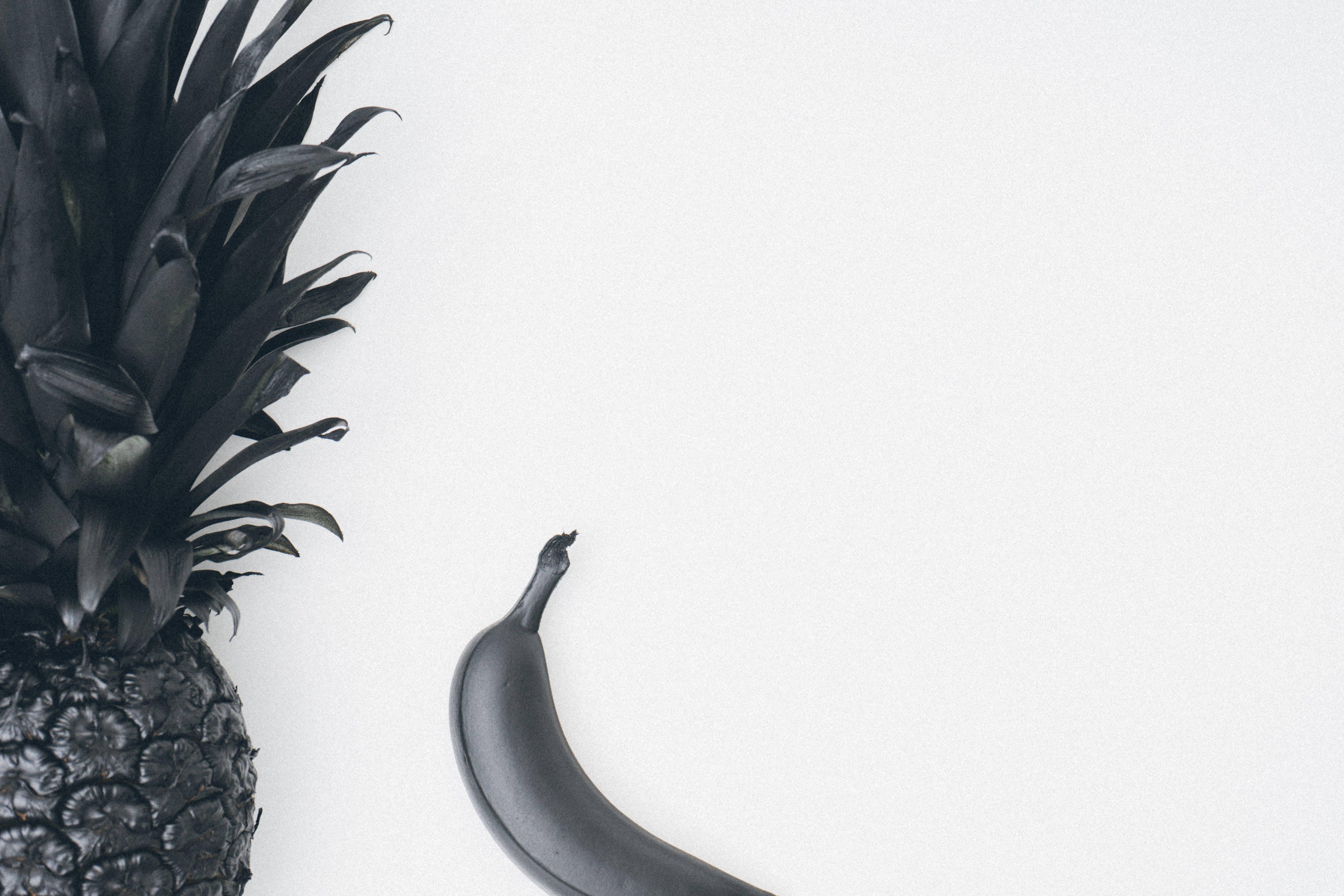 Free stock photo of art, pineapple, black, banana