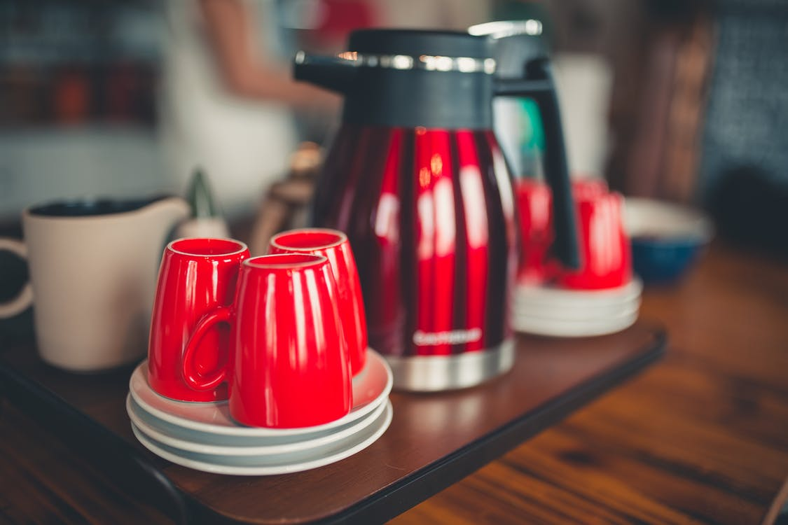 Red Coffee Kettle and Red Ceramic Cups
