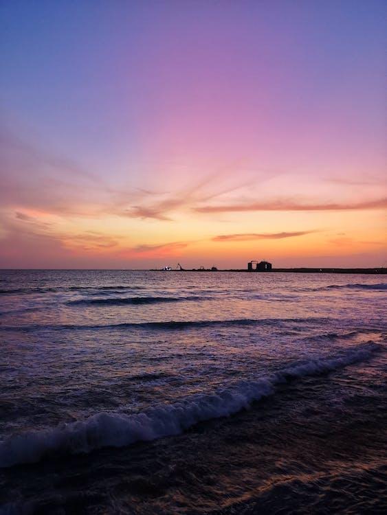 fredlig, gryning, hav