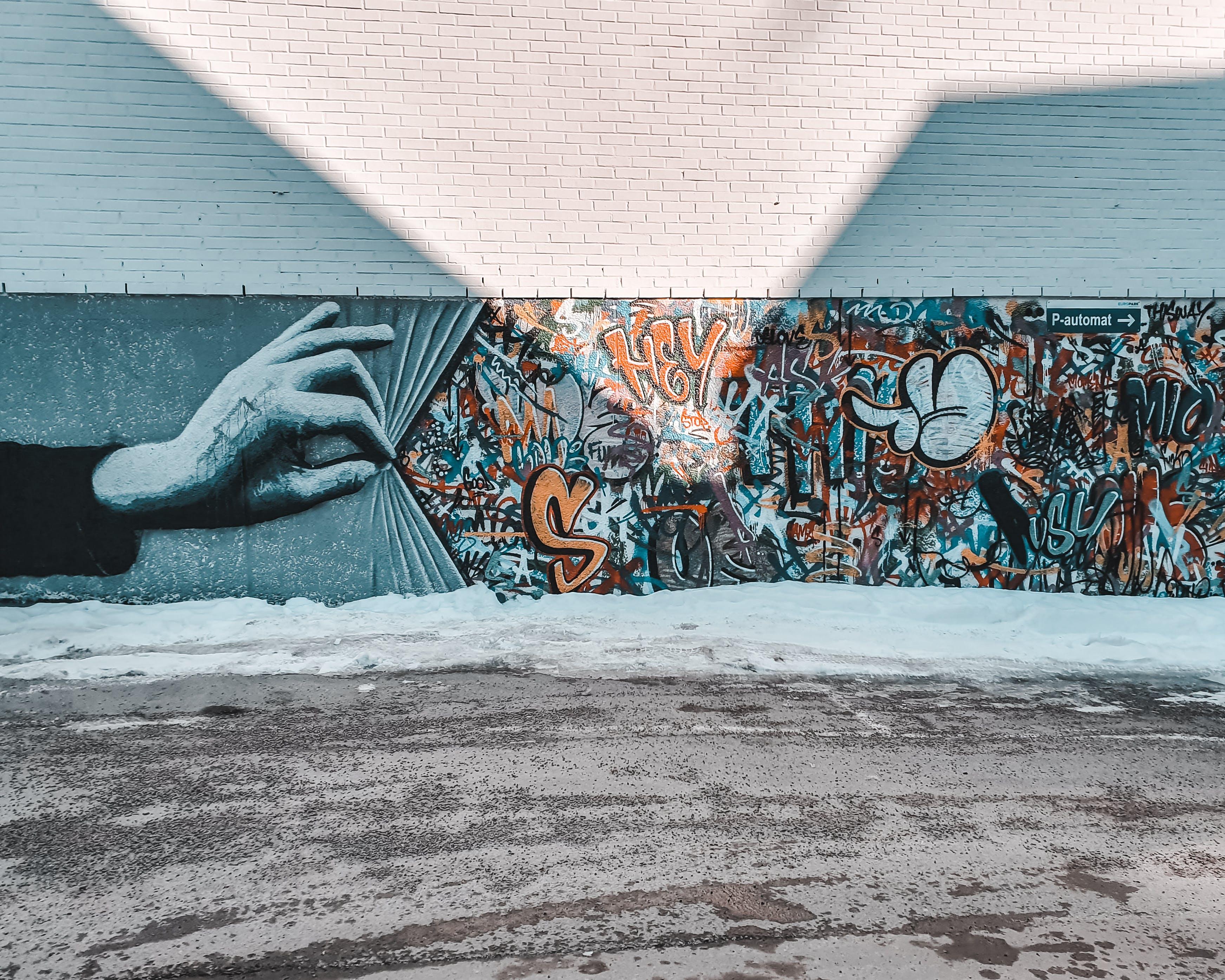 architektur, gebäude, graffiti