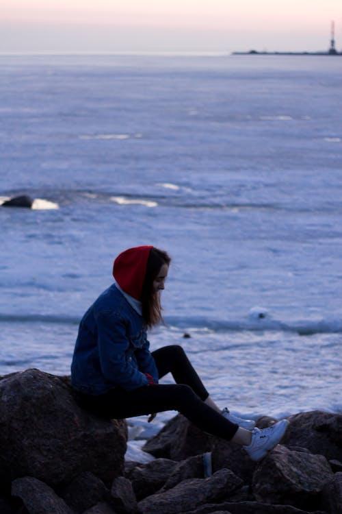 Foto d'estoc gratuïta de dona, mar, oceà, persona
