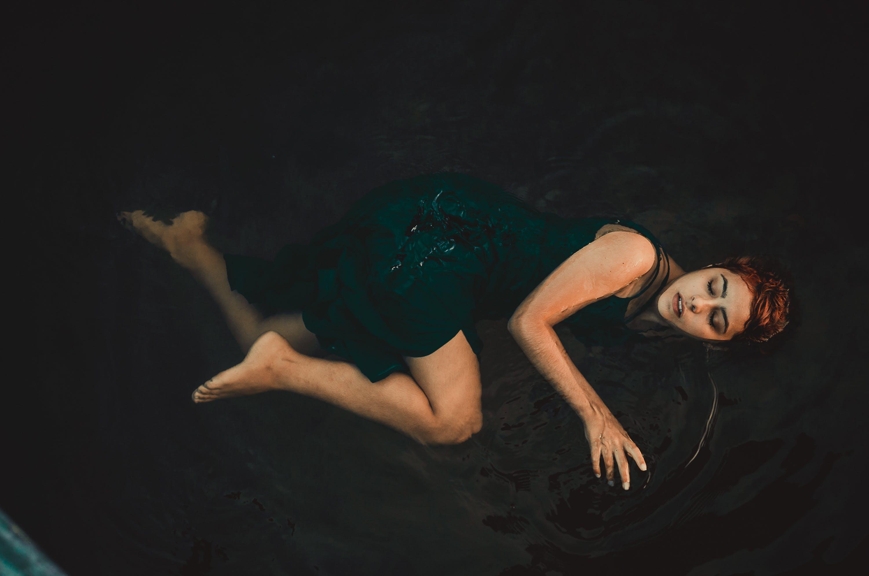 dunkel, einbaum-pool, erwachsener