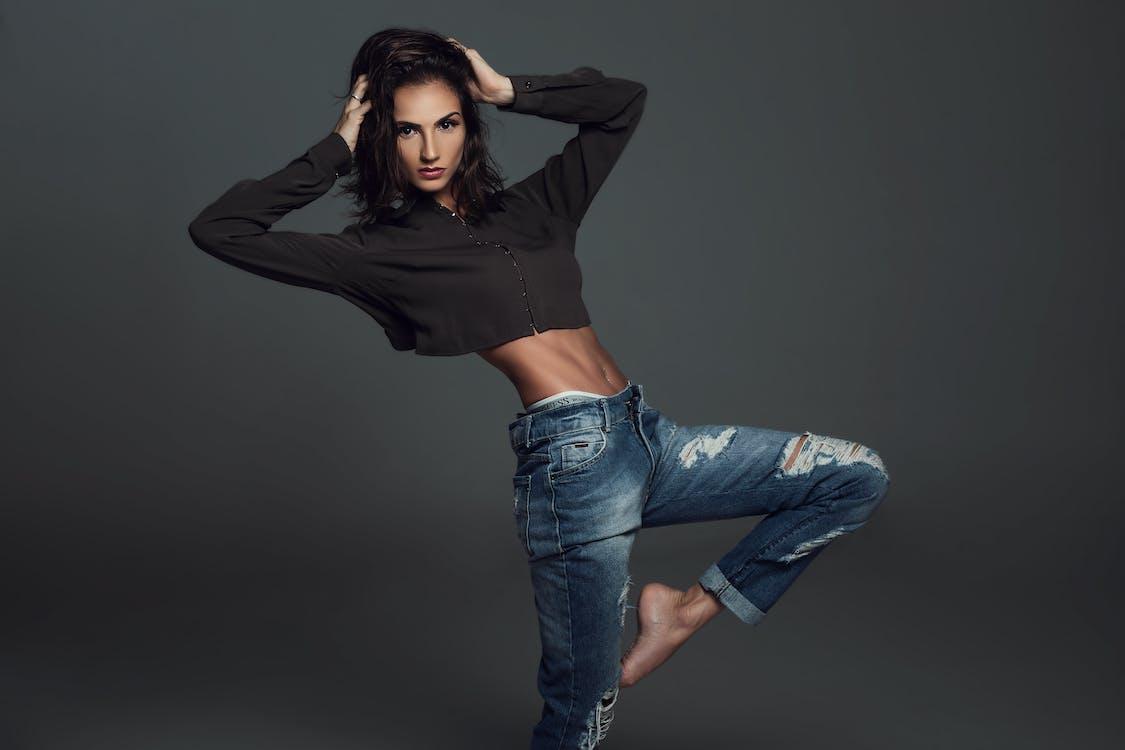 Free stock photo of abdomen, blue jeans, body
