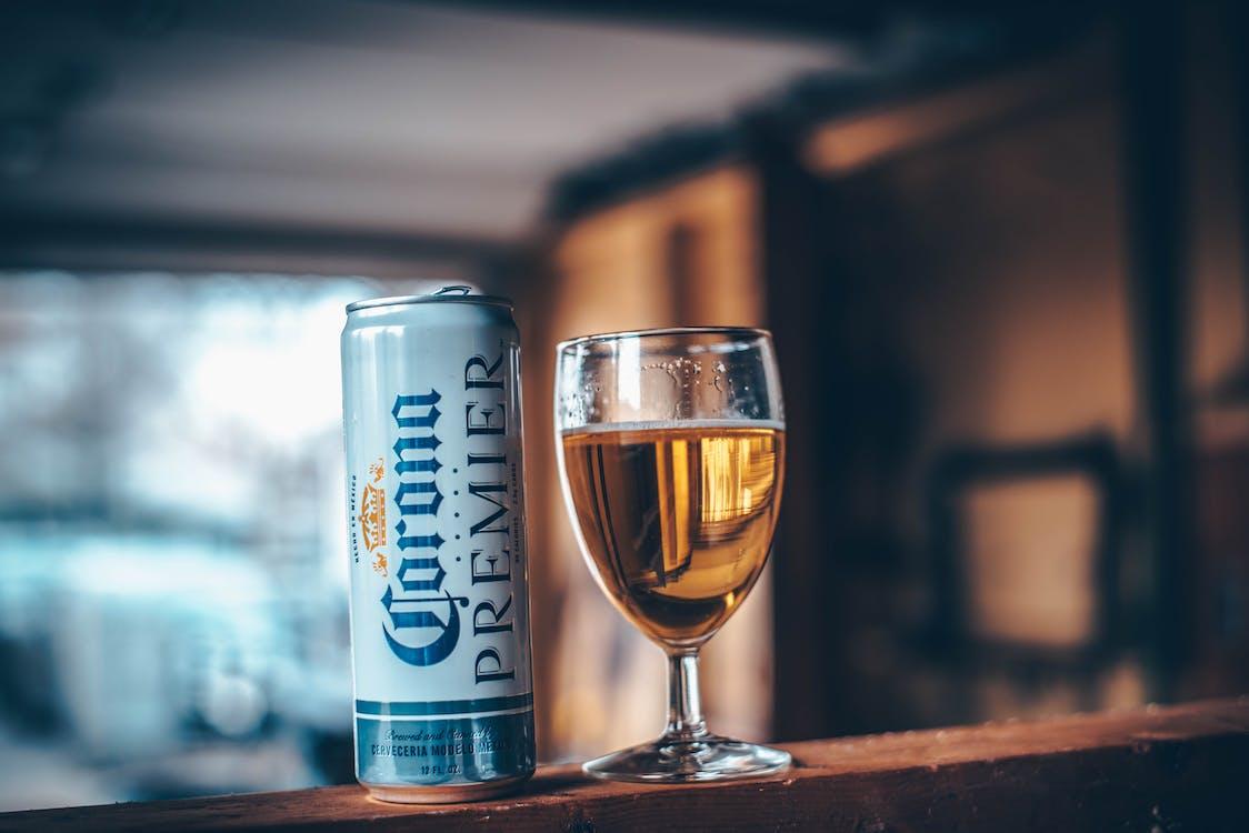 Corona Premier Beer Can Beside Goblet Glass