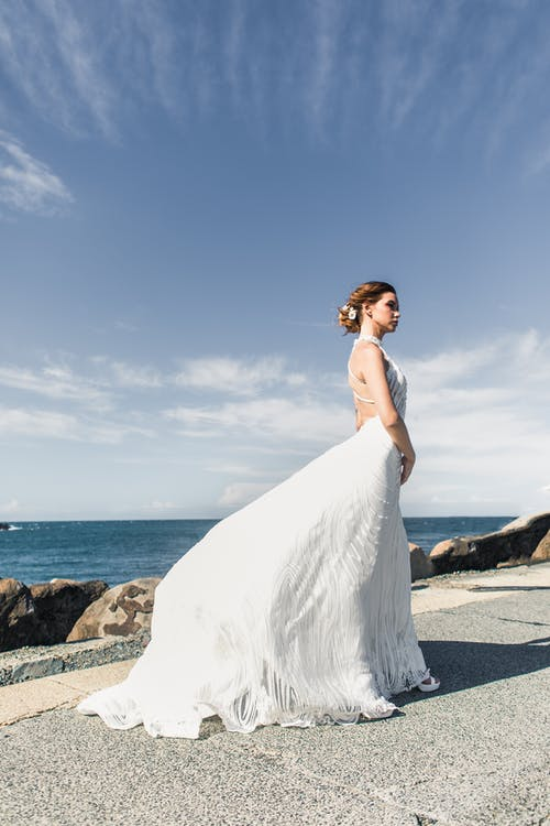 Woman In White Wedding Gown
