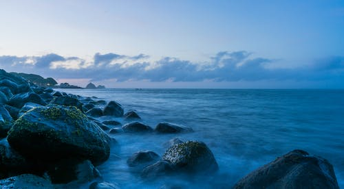 Free stock photo of beach, blue, dusk, long exposure