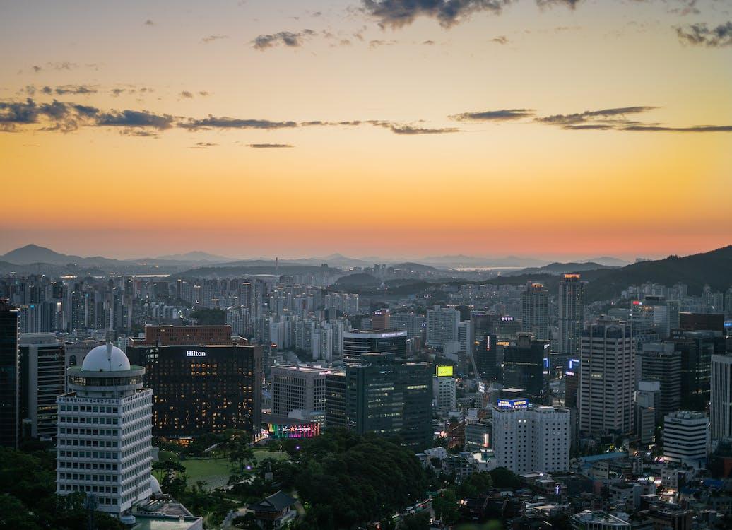 bình minh, các tòa nhà, cảnh quan thành phố