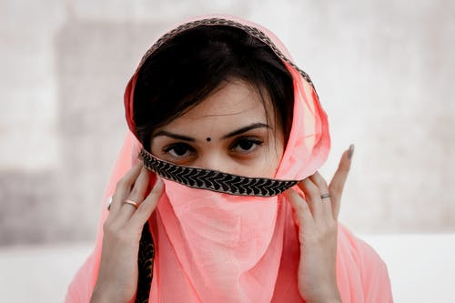 Woman Wearing Pink Headscarf