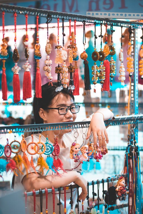 Woman Selling Multicolored Lucky Charms
