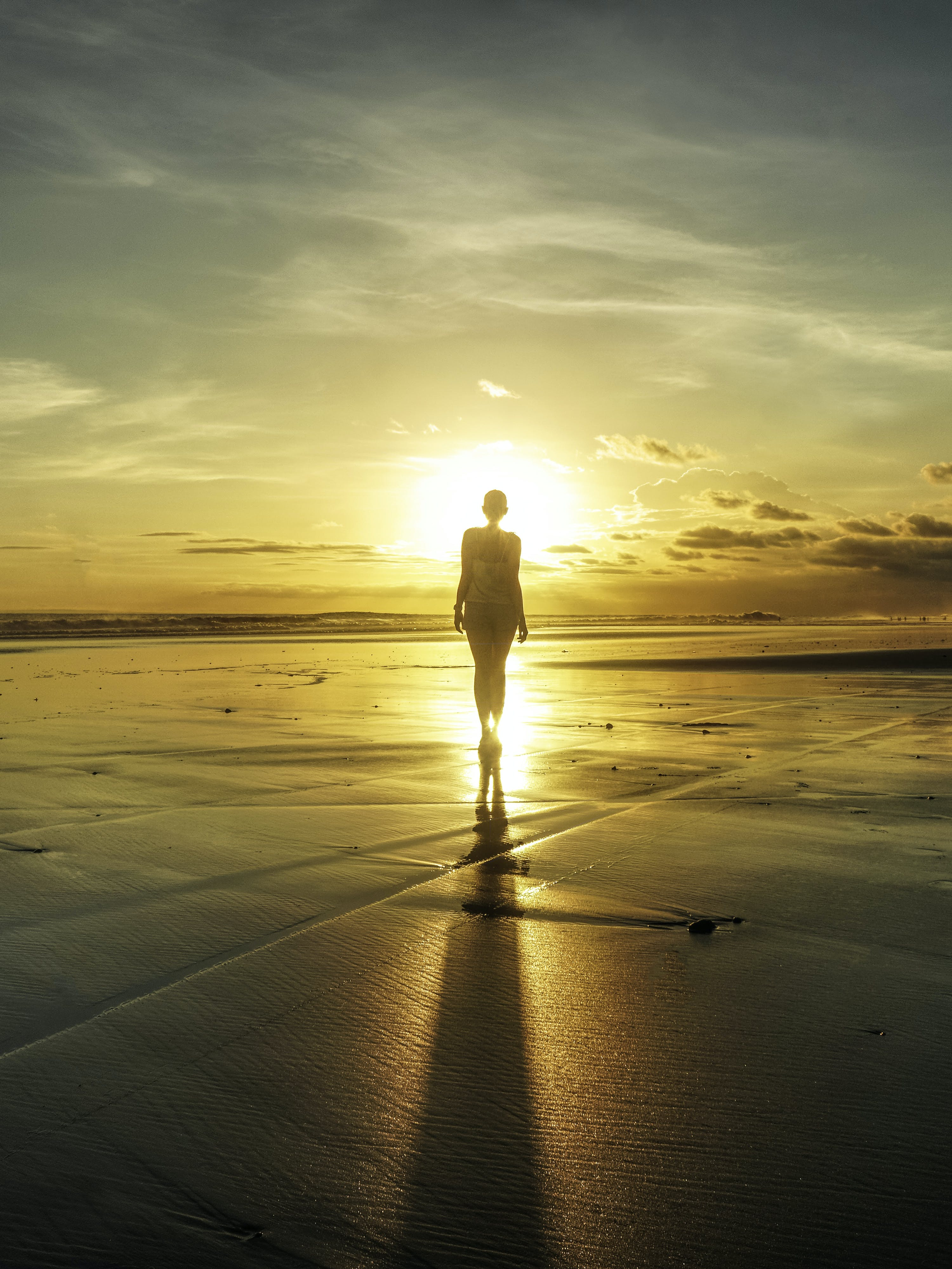 คลังภาพถ่ายฟรี ของ ชายทะเล, ชายหาด, ซิลูเอตต์, ตะวันลับฟ้า