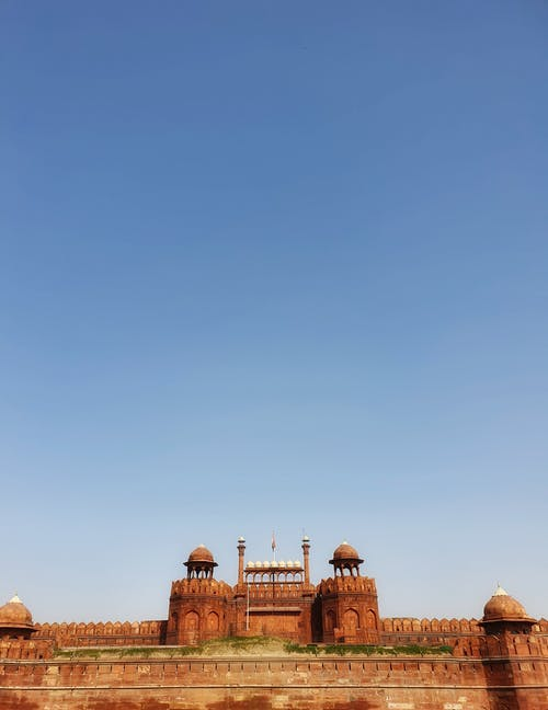 Foto stok gratis bangunan tua, bendera india, benteng, benteng merah