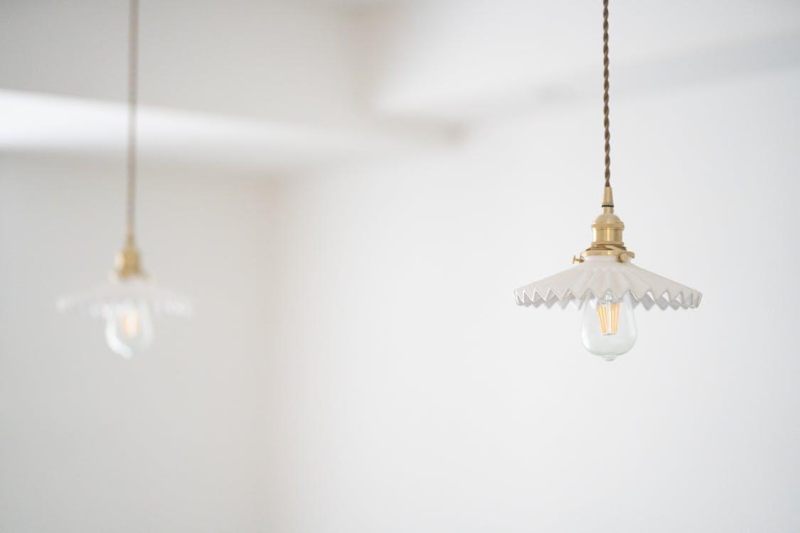 Two Copper-colored Pendant Lamps