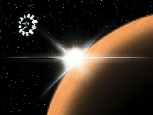 Imagine de stoc gratuită din galaxie, nava spatiala, planetă, soare de seară