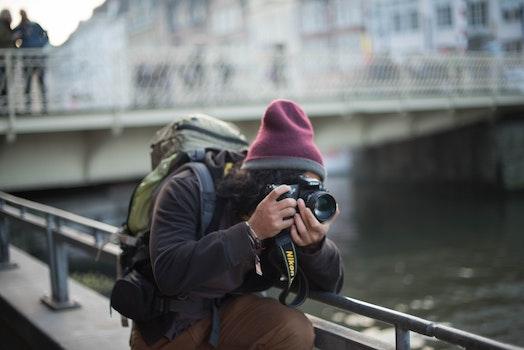 Free stock photo of man, camera, traveling, river
