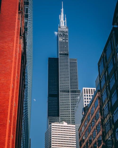 ガラスアイテム, コンテンポラリー, シティ, スカイラインの無料の写真素材