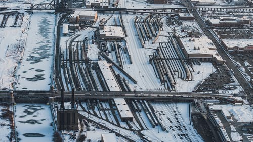 Bird's Eye View Photography of Structure Cover by Snow