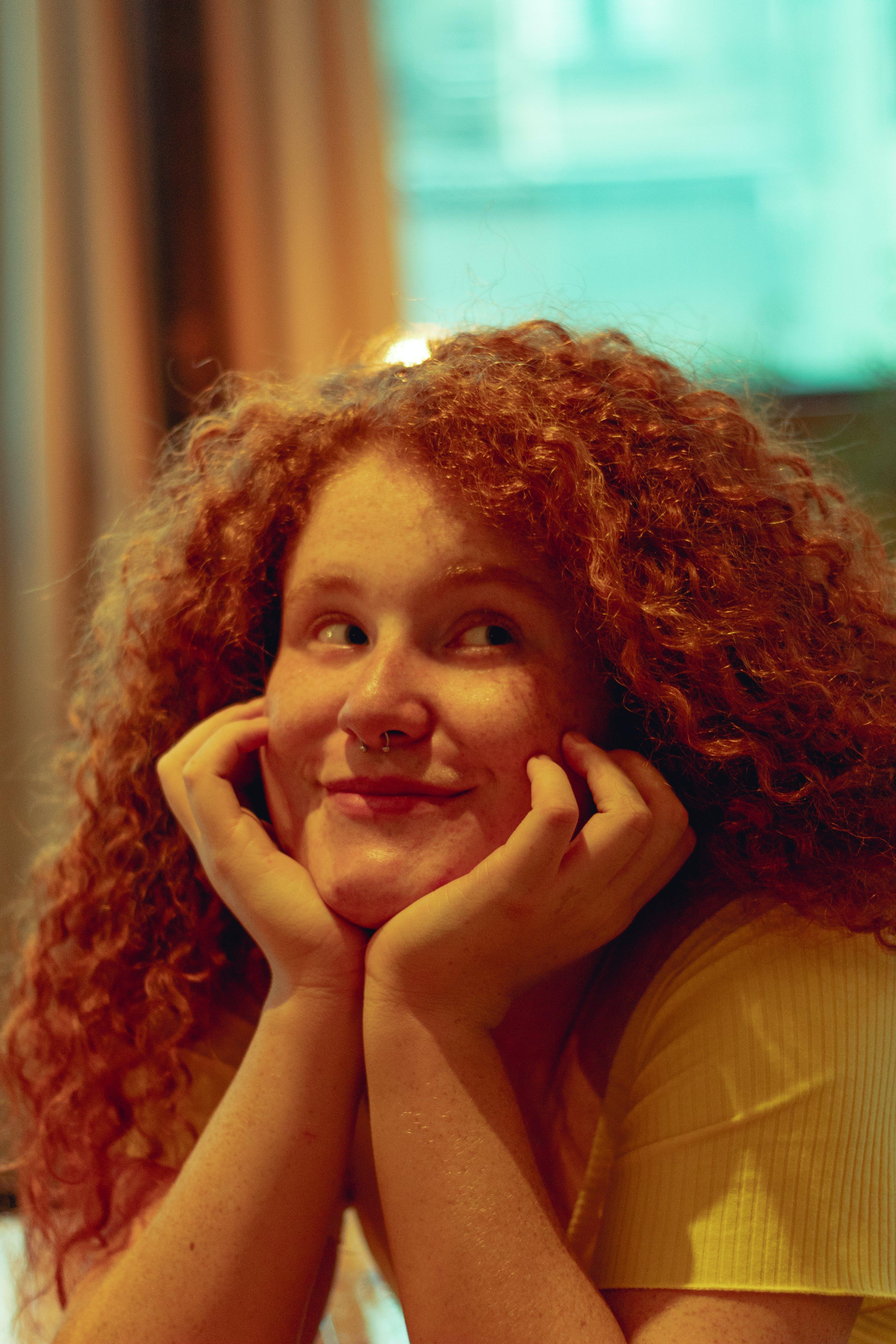 Free stock photo of blue eyes, curly, female, girl