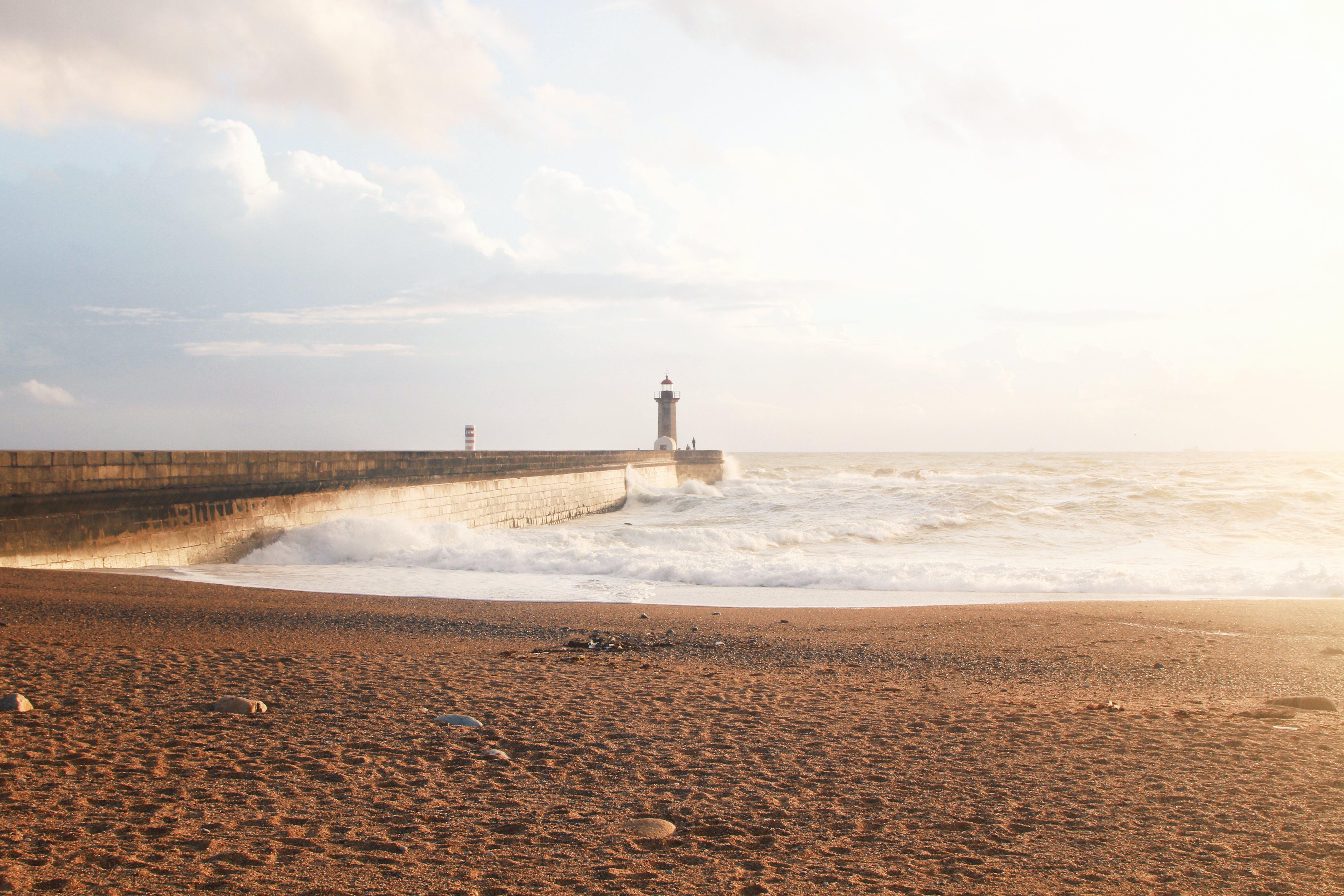 Foto stok gratis dermaga, Fajar, gelombang, langit