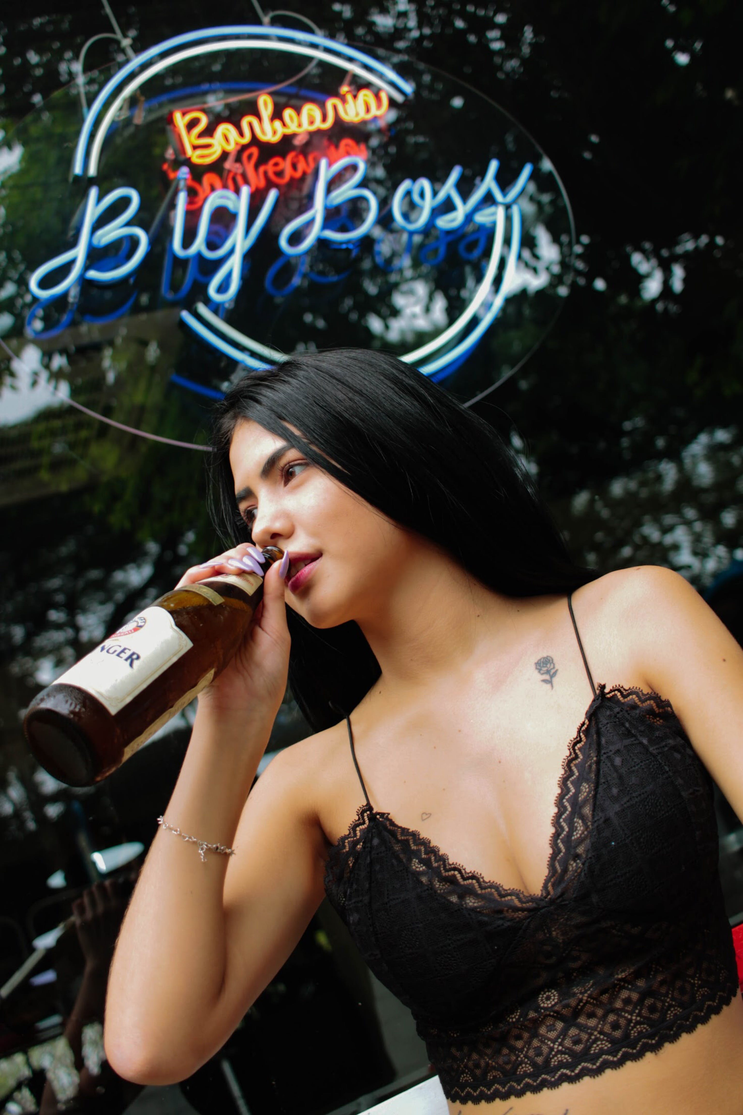 Woman About to Drink Liquor