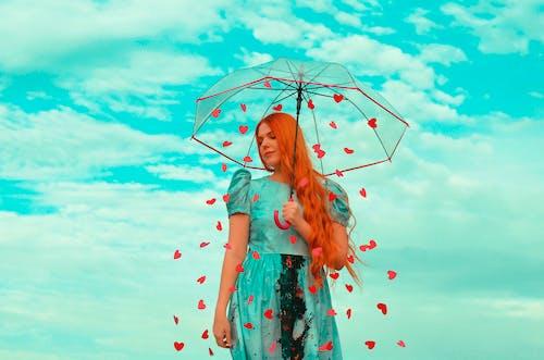 Foto profissional grátis de amor, azul, gengibre, guarda-chuva