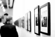 black-and-white, people, art