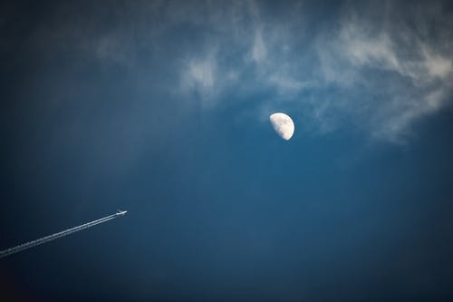 Free stock photo of airplane, blue, clouds, contrails