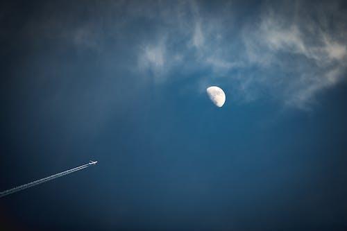 Foto d'estoc gratuïta de aterratge de la lluna, avió, blanc, blau