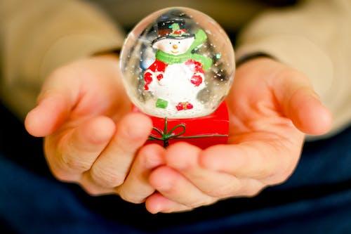 Person Holding Snowman Waterglobe