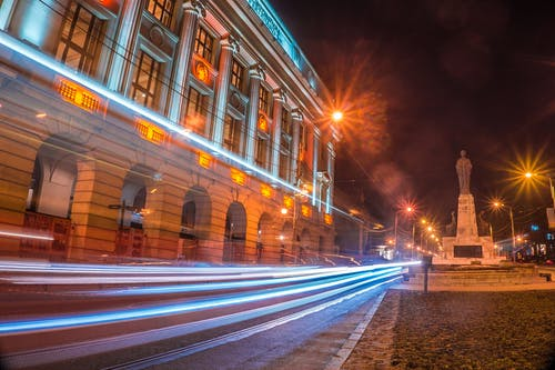 Free stock photo of blue, light trails, long exposure, night photography