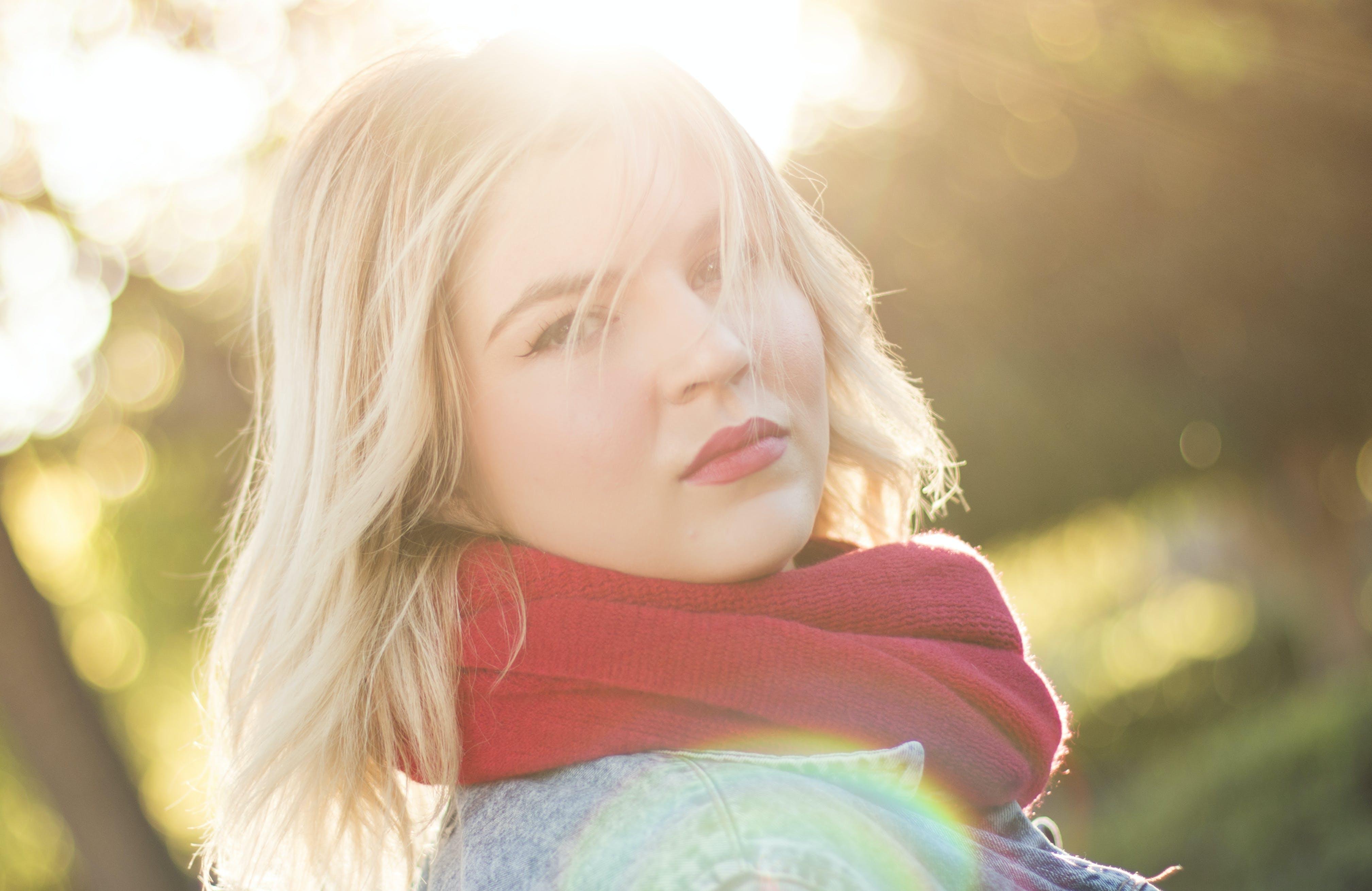 Free stock photo of woman, girl, winter, ray of sunshine