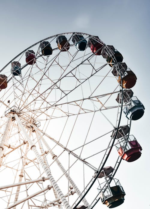 Low Angle Photo of White Ferris Wheel