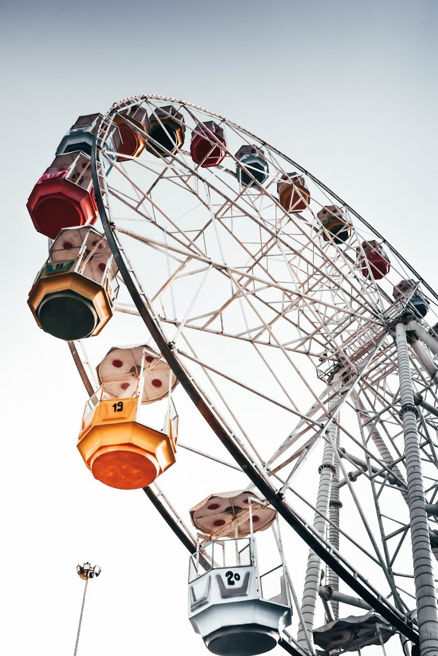 low angle photo photograph of ferris wheel