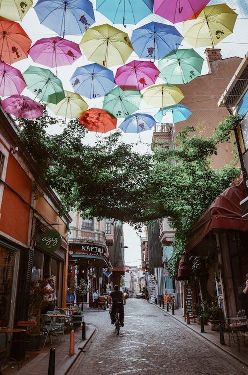 Fotobanka sbezplatnými fotkami na tému budovy, cesta, dáždniky, dekor