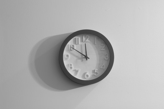 Free stock photo of black-and-white, wall, clock, gray