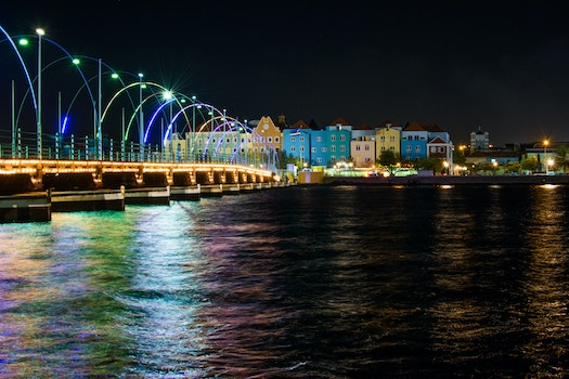 Free stock photo of lights, night, buildings, river
