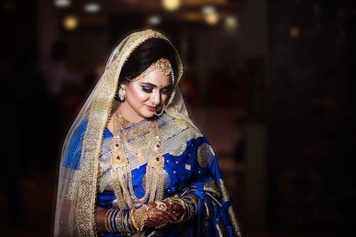 Woman Wearing Blue And Gold Saree Dress