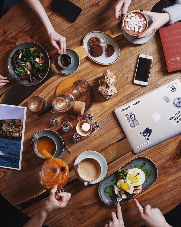 brunch, buatan tangan, cappuccino