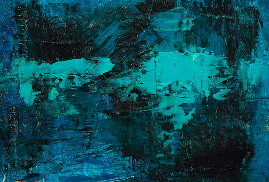Black teal and blue abstract painting