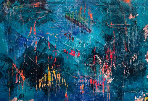 Blue, Red, and Black Abstract Painting