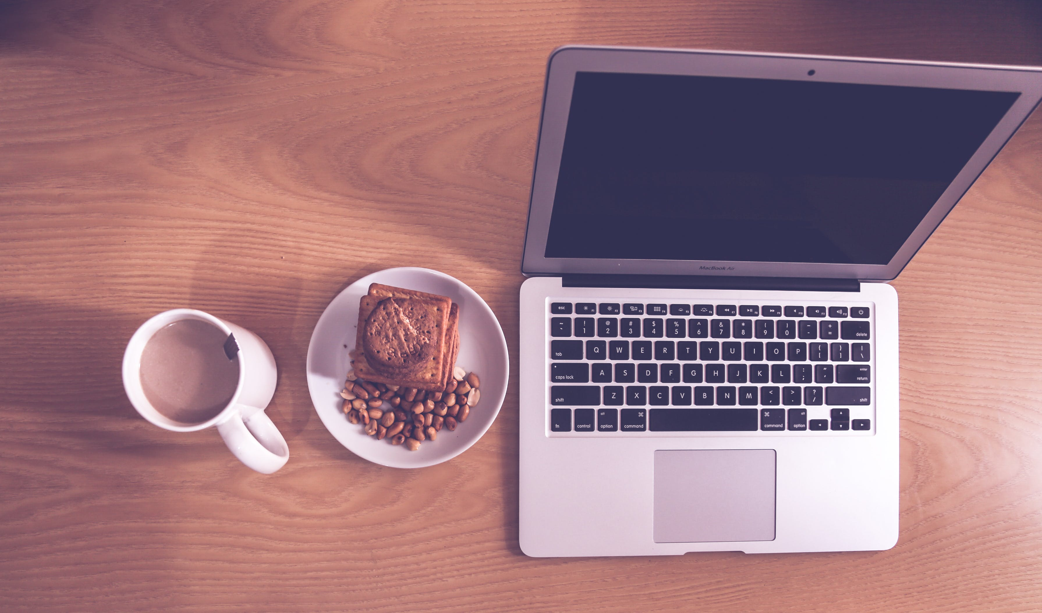 Free stock photo of biscuits, coffee cup, groundnut, macbook air
