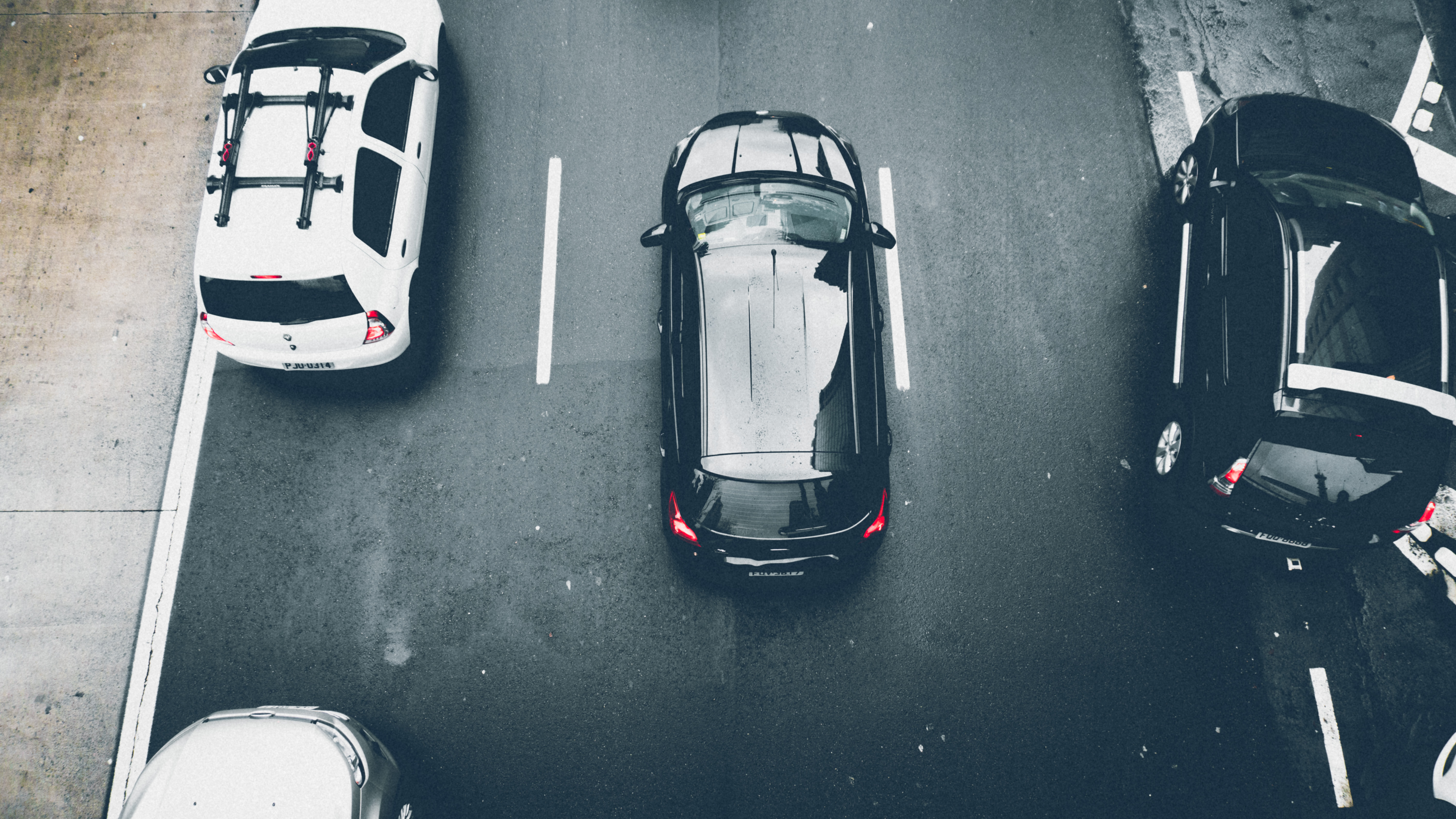 Black and White Vehicles on Road Aerial Photography