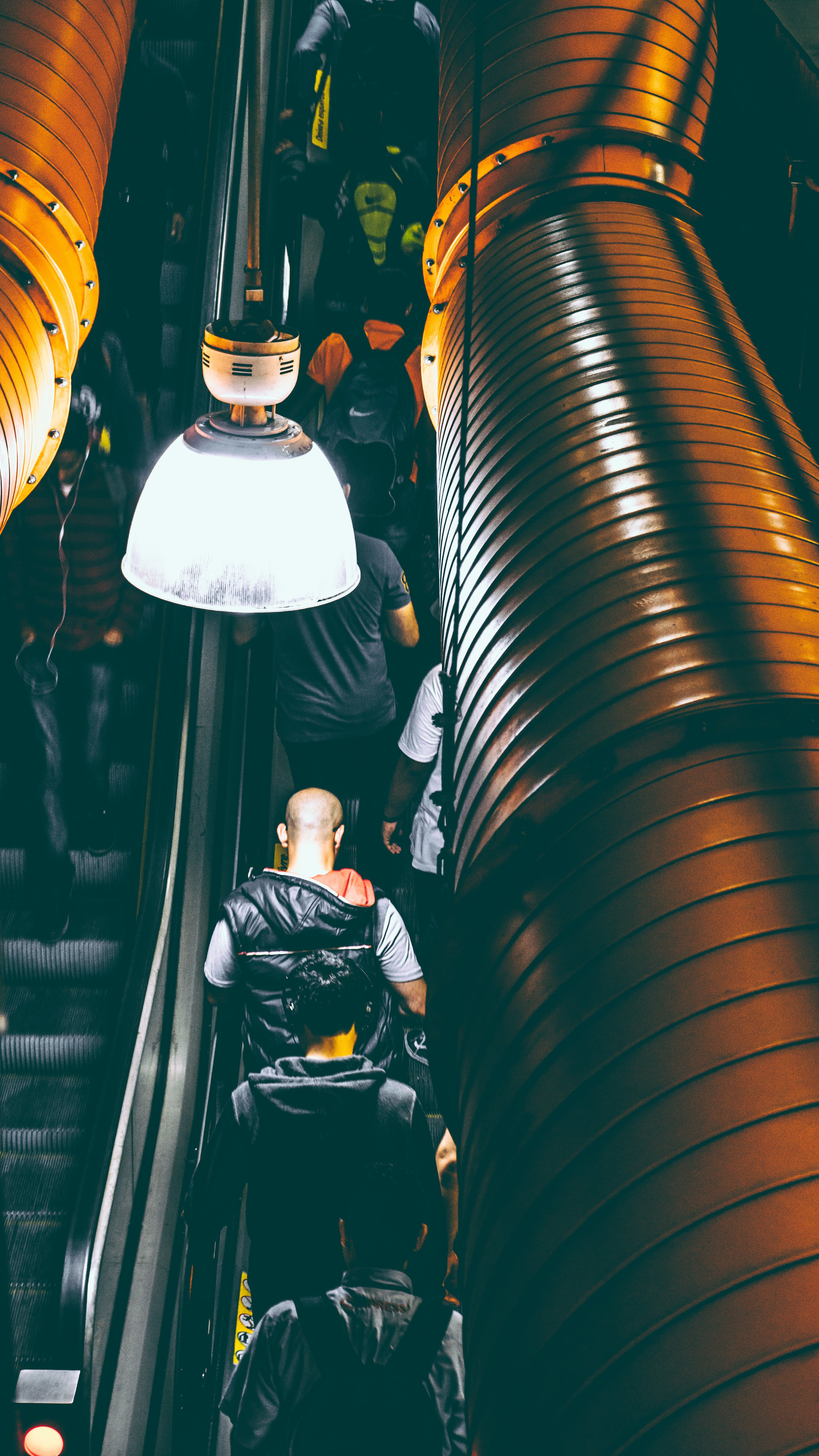 Photo of People Using Escalator Inside a Building