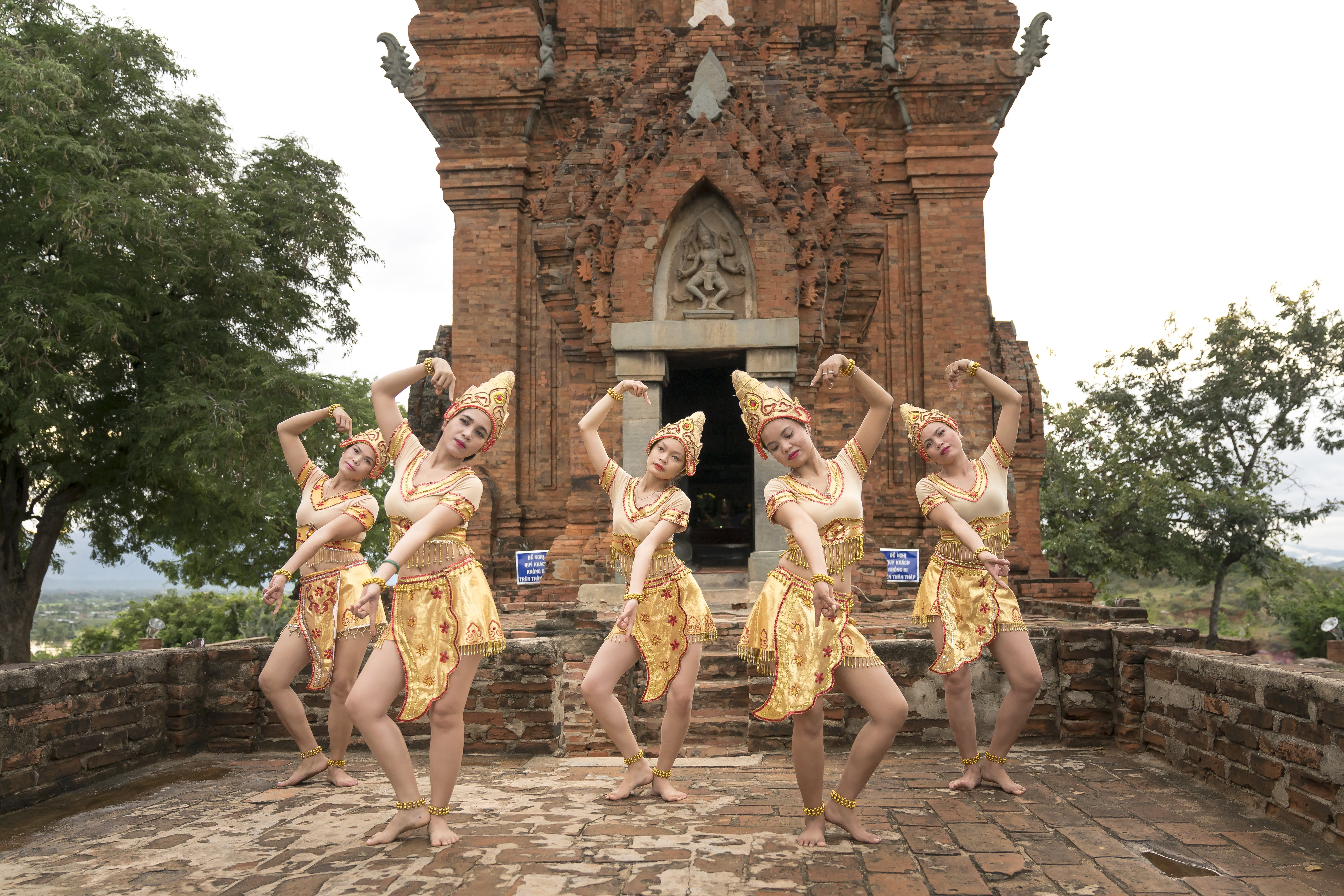 Five Women Performing Traditional Dance